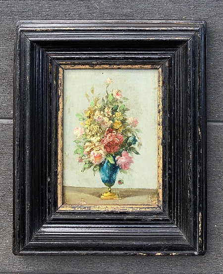 """""""Bouquet of Flowers"""" - Small antique painting - 19thC"""