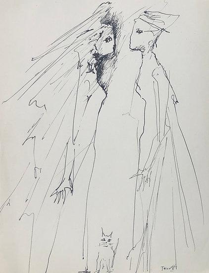 """Jacques Thiout (1913-1971) - """"Couple et chat"""" #9"""