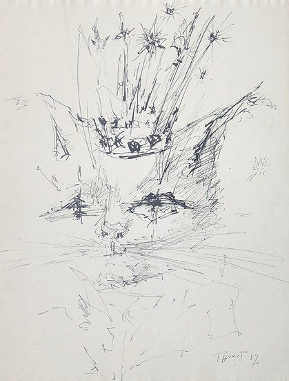 "Jacques Thiout (1913-1971) - ""Chat à la couronne"" #4"