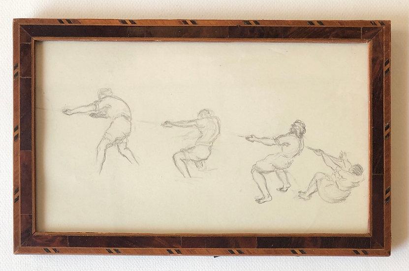 """Fishermen pulling their net"" - Original drawing"