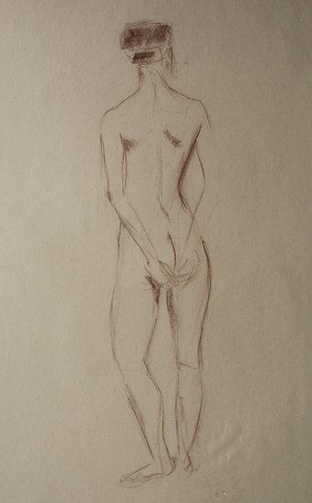 """""""Étude de Nu féminin / Femme nue"""", c.1950 - Grand Dessin au Pastel #17"""