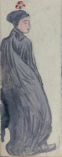 "Marcel Bernanose - Aquarelle - ""Femme au voile"" - Indochine / Vietnam #11"