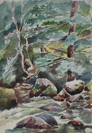 "Monique Perrot - Original Watercolor - ""View of Gabas : the Gave du Brousset"" French Pyrenees Landscape"