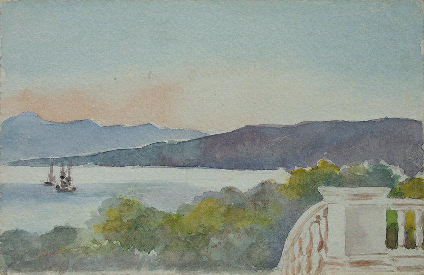 "Monique Perrot - Original Watercolor - ""Seaside Landscape"" #1"