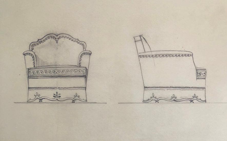 """Maison Piersen"" - Original Vintage Drawing - 1950/1960s #37"