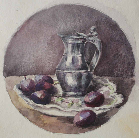 "Monique Perrot - ""Still life with plums"" - Original watercolor #4"
