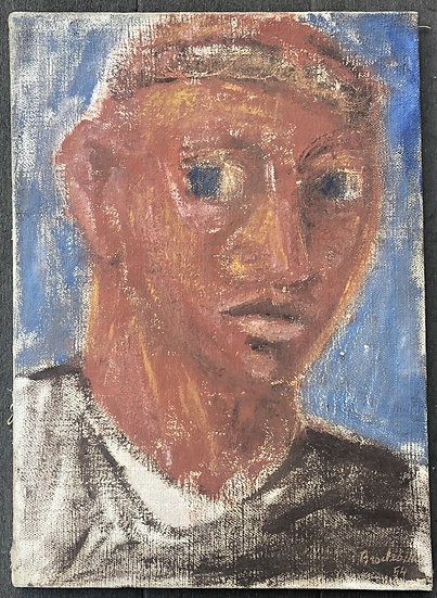 """René Brochard (1926) - Peinture 1954 - """"Portrait d'homme"""""""