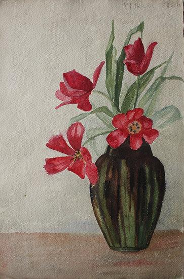 """MATHILDE DAQUIN - """"Bouquet de Fleurs Rouges"""" - Aquarelle, c.1930 - Art Déco #2"""