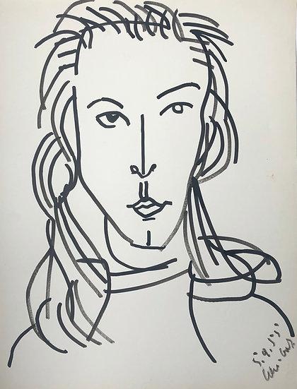 "David Lan-Bar (1912-1987) - ""Portrait"" - Grand Dessin #12"