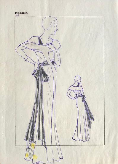 "Original Drawing, 1950s - ""Fashion Sketch"" #9"