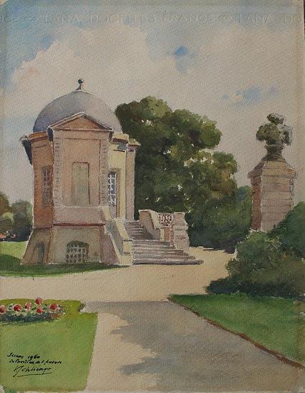 """""""The Pavillon de l'Aurore in Sceaux"""" - Vintage Watercolor, 1960"""