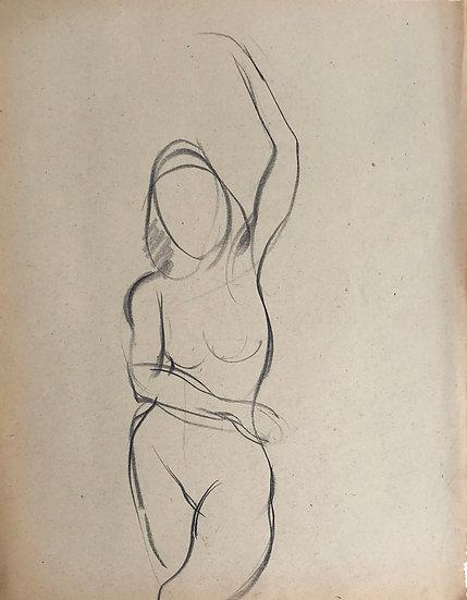 """Cesar Bolletti - Dessin Original, c. 1940 - """"Étude de Nu Féminin"""" #32"""