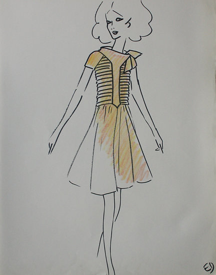 Jean Eden - Dessin original, c.1970 - Croquis Mode Femme Robe #6