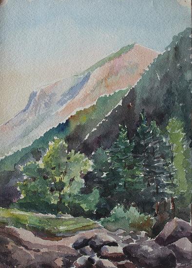 """Monique Perrot - Original Watercolor """"View of the Pic d'Arcizette - Gabas"""" Mountain Landscape French Pyrenees"""