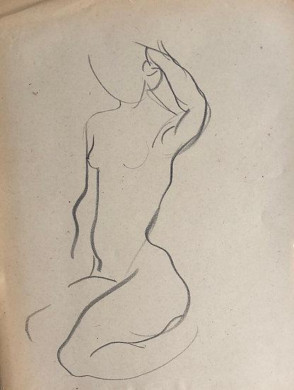 """Cesar Bolletti - Dessin Original, c. 1940 - """"Étude de Nu Féminin"""" #35"""
