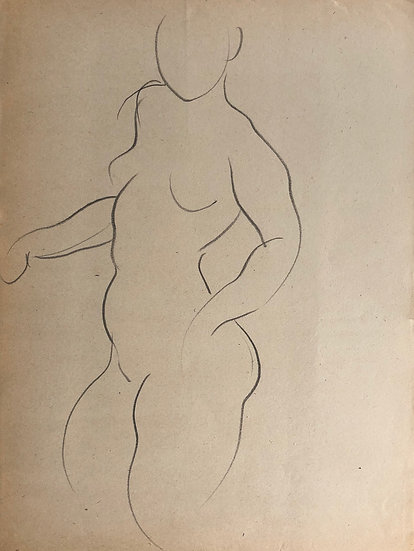 "Cesar Bolletti - Original Vintage Drawing, c.1940 - ""Female Nude Sketch"" #11"