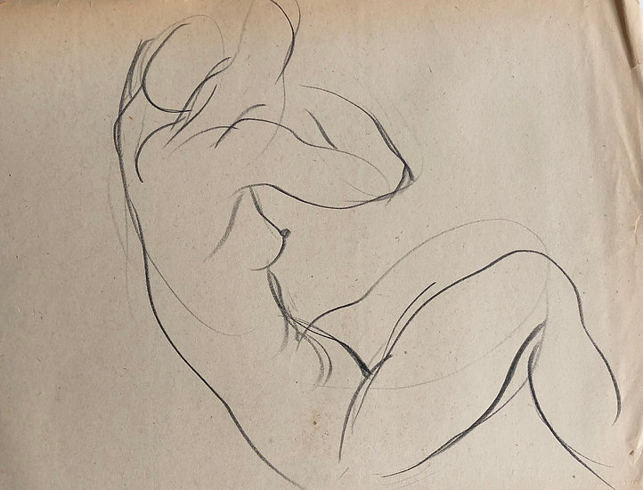 "Cesar Bolletti - Original Vintage Drawing, c.1940 - ""Female Nude Sketch"" #44"