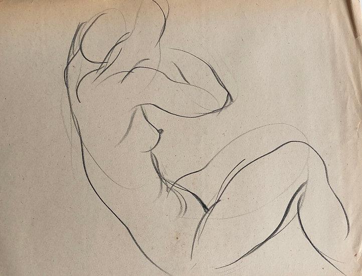 """Cesar Bolletti - Dessin Original, c. 1940 - """"Étude de Nu Féminin"""" #44"""