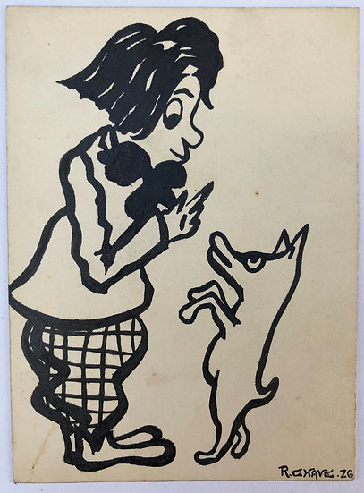 "Raoul CHAVE - Original Drawing 1926 ""Man and Dog"""
