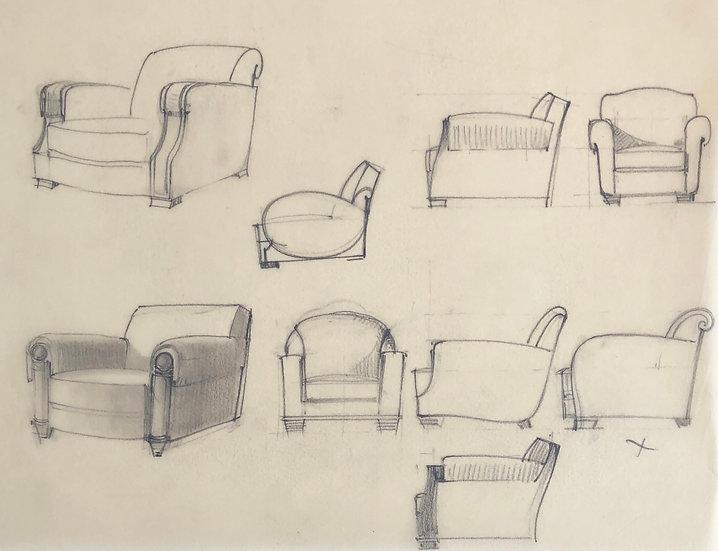 """Maison Piersen"" - Original Vintage Drawing - 1950/1960s #36"