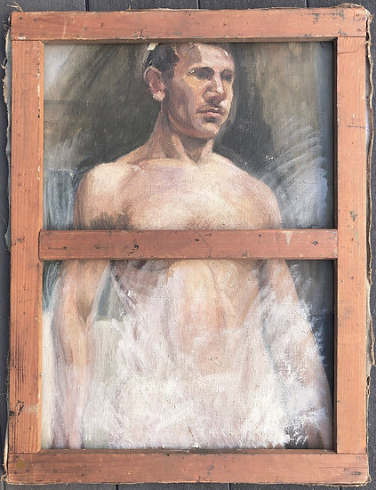"""Tableau Ancien Huile c.1900/1920 """"Étude de nu masculin"""""""