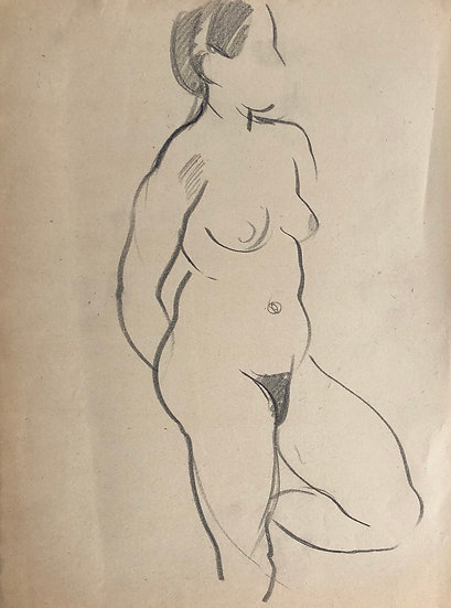 "Cesar Bolletti - Original Vintage Drawing, c.1940 - ""Female Nude Sketch"" #18"