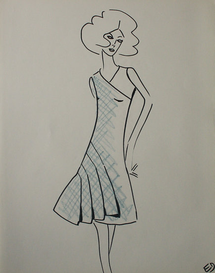 "Jean Eden - Original Vintage Drawing, c.1970 - ""Fashion Sketch"" #17"
