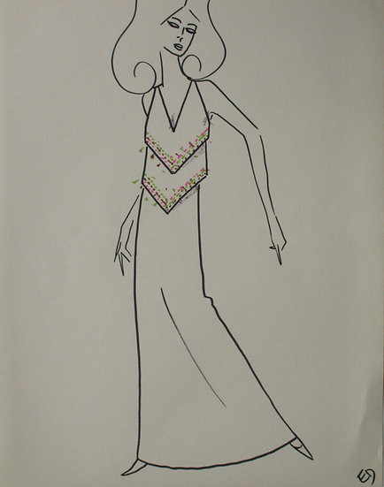 "Jean Eden - Original Vintage Drawing, c.1970 - ""Fashion Sketch"" #28"
