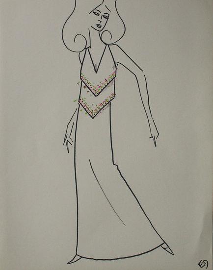 Jean Eden - Dessin original, c.1970 - Croquis Mode Femme Robe #28