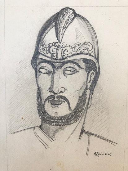 """M. OLLIER - """"Portrait d'homme au casque"""" c.1920 - Dessin Ancien"""