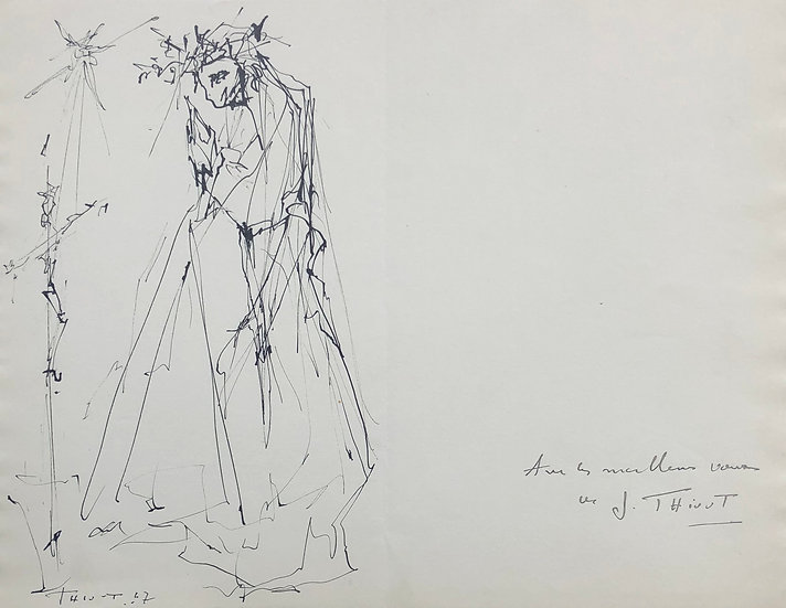 """Jacques Thiout (1913-1971) - """"Woman with a dress"""" #6"""