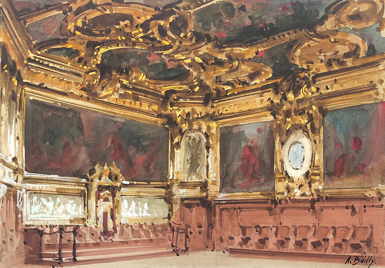 """Alexandre Bailly - Antique Watercolor - """"Theater Decor Project"""" #6"""