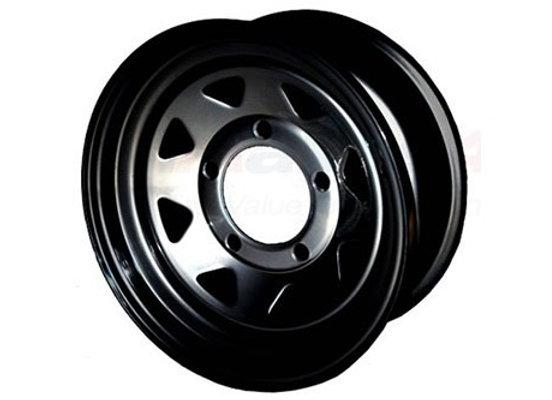 DEFENDER / D1 / RRC BLACK 8 SPOKE 7x16 STEEL ROAD WHEEL