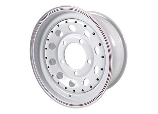 DEFENDER / D1 / RRC WHITE MODULAR 7x16 STEEL ROAD WHEEL