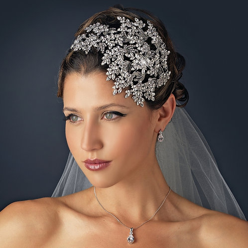 Vintage Couture Leaves Side Accented Crystal Bridal Headband