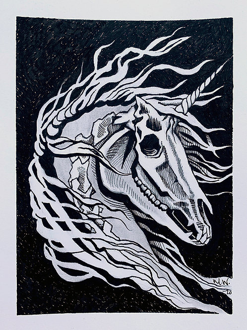 Unicorn Skull Study | Original Drawing