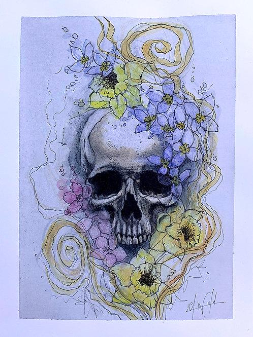 Skull and Flower Study | Original Drawing
