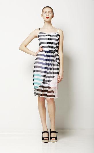 Model in Striped Dress