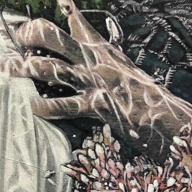 Detail from 'Fisherwoman I' clutching he