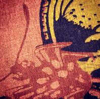 Screenprinted silk linen close up detail