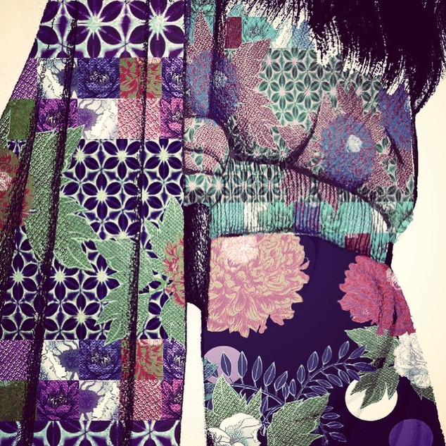 Geometric teamed with florals; #printonp