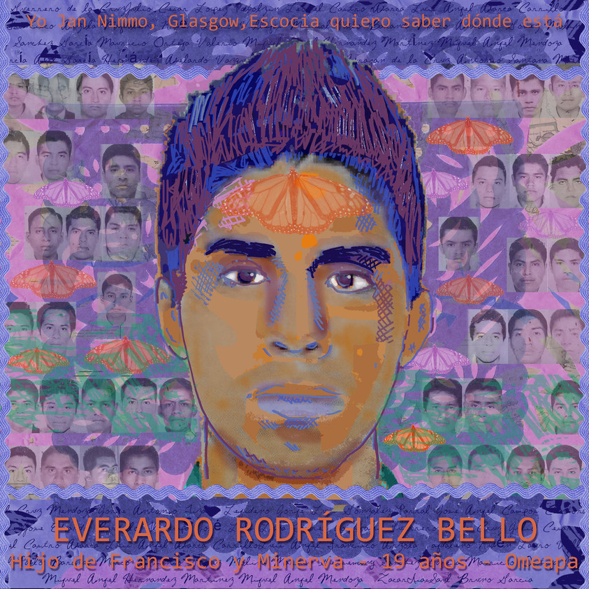 Tribute for the Ayotzinapa 43+/Tributo para los 43+ de Ayotzinapa Digital collages of the Ayotzinapa students by Glasgow based artist and filmmaker Jan Nimmo, created between October 2014 and September 2015. The portraits include imagery unique to each student, based on biographical information compiled by activist Alma Eréndira Sandoval Carrillo.