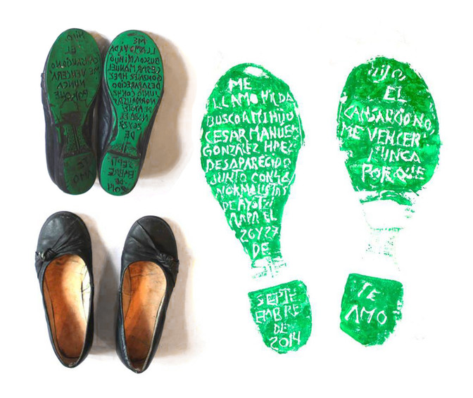 """""""My name is Hilda, I am searching for my son Cesar Manuel González Hernández, disappeared along with 42 students from Ayotzinapa on the 26th and 27th of September 2014. Son, fatigue will never defeat me because I love you.""""   'Huellas de la Memoria' (Footprints of Memory), 2016 is the project of artist Alfredo López Casanova. Taking the shoes of people searching for missing relatives, he engraves the story of their owner and their search into the soles. These are then printed, creating the footprint."""