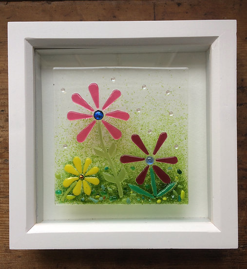 Framed Fused Glass Flowers