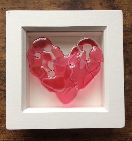 Framed Fused Glass Heart