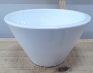 Ceramic Bowl Taper Helmer Pot White 21.5/11/5 CM