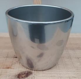 Ceramic Boule Pot Chrome Silver Shiny 13.5/12/9.5 CM