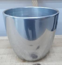Ceramic Boule Pot Chrome Silver Shiny 19/17/12.5 CM