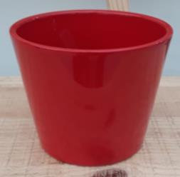 Ceramic Dida Orchid Pot Red Shiny 13 CM