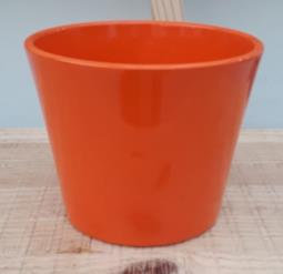 Ceramic Dida Orchid Pot Orange Shiny 13 CM